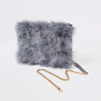 River Island Grey marabou faux fur cross body pouch bag