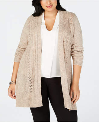 Karen Scott Plus Size Pointelle Open-Front Cardigan