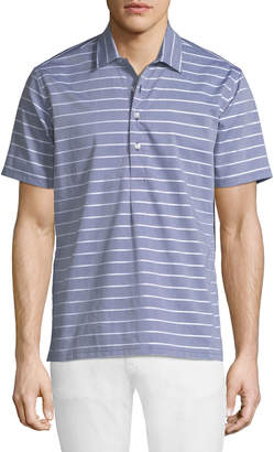Neiman Marcus Slim-Fit Wear-It-Out Dobby Chambray Polo Shirt