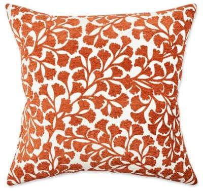 Vesper Lane Classical Floral Square Throw Pillow in Orange