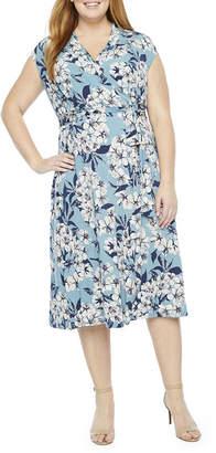 London Times Short Sleeve Floral Shift Dress-Plus