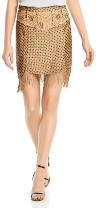 Haute Hippie Devere Crosshatch Beaded Mini Skirt