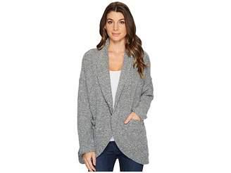 Mod-o-doc Corded Sweater Knit Shawl Collar Patch Pocket Cardigan Women's Sweater