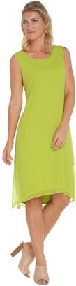 Joan Rivers Classics Collection Joan Rivers Petite Length Sleeveless Knit Dress with Chiffon Overlay