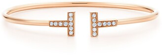 Tiffany & Co. & Co. T wire bracelet in 18k rose gold with diamonds, small