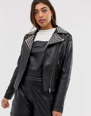 Muu Baa Muubaa Lobelia studded leather jacket