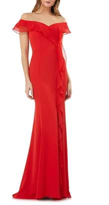 Carmen Marc Valvo Off the Shoulder Cascading Ruffle Gown