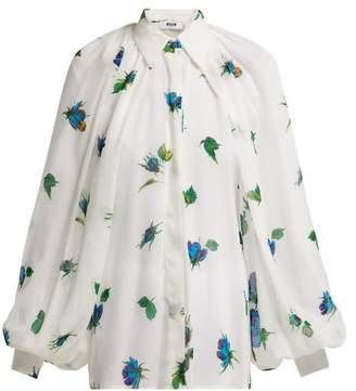 MSGM Floral Printed Chiffon Blouse - Womens - White Multi