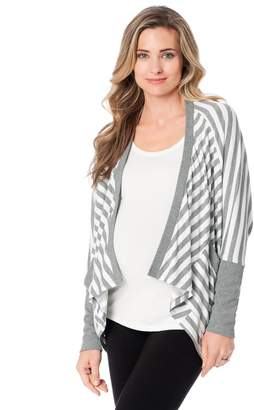 A Pea in the Pod Long Sleeve Cascade Striped Maternity Cardigan- Grey/White Stripe