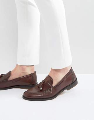 Asos Loafers In Burgundy With Charm Detail