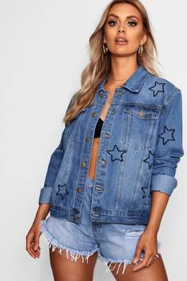 boohoo Plus Star Embroidered Denim Jacket