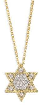Roberto Coin Tiny Treasures Diamond and 18K Yellow Gold Star Of David Necklace