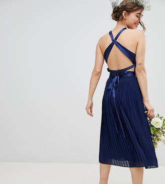 TFNC Petite Pleated Midi Bridesmaid Dress with Cross Back and Bow Detail