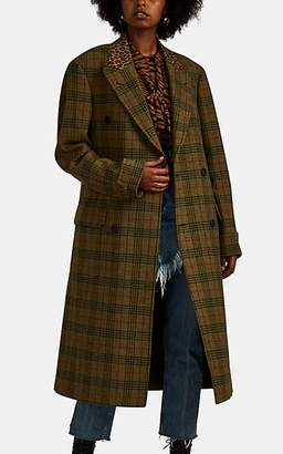 R 13 Women's Plaid & Leopard-Print Wool Double-Breasted Coat - Green