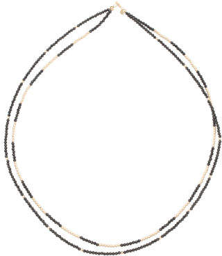 Made In Usa 14k Gold 2 Row Black Spinel Necklace