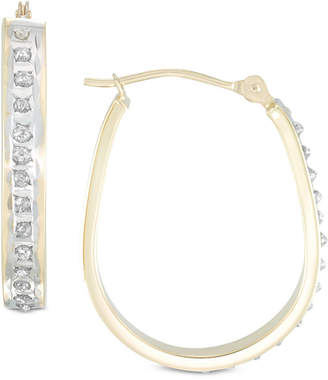 Diamond Fascination Diamond Accent Pear-Shape Hoop Earrings