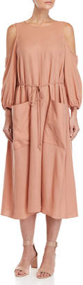 Tibi Winston Flannel Cold Shoulder Dress