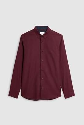 Next Mens Navy Long Sleeve Slim Fit Jacquard Shirt