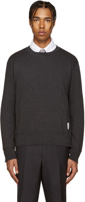 Thom Browne Grey Ribbed Pullover $430 thestylecure.com