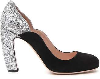 Miu Miu Glittered Block Heel Pumps