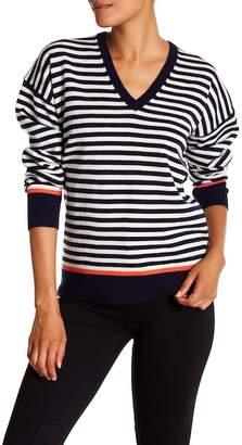 Equipment Lucinda V-Neck Stripe Wool Blend Sweater