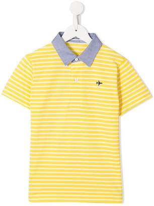 Familiar embroidered logo striped polo
