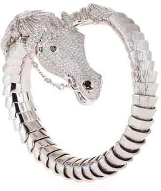 Roberto Coin 18k Diamond Pave Horse Bangle, White Gold