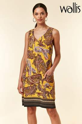 Wallis Womens Ochre Swirl Print Paisley Pinny - Yellow