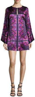 Nanette Lepore Printed Silk Satin Shift Dress, Eggplant/Multicolor $498 thestylecure.com