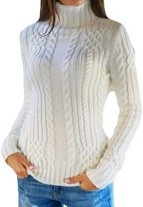 Pandapang Womens Winter Thick Knitted Slim Turtleneck Pullovers Sweaters Medium