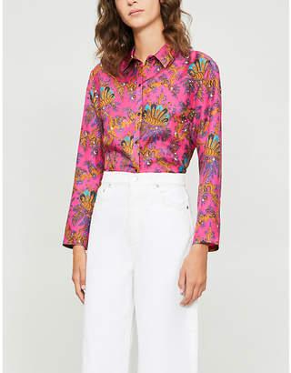 Sandro Simon paisley-printed silk-twill shirt