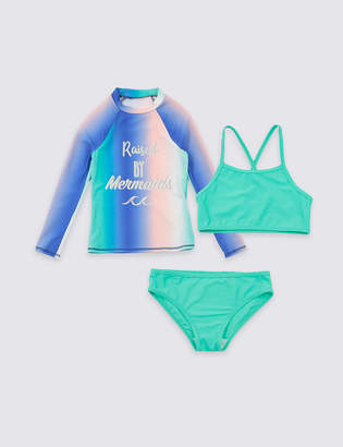 Marks and Spencer 3 Piece Swimsuit Set with Sun Smart UPF50+ (3-16 Years)
