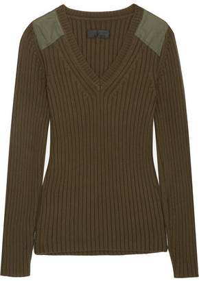 Nili Lotan Peyton Ribbed Cotton And Cashmere-blend Sweater - Green