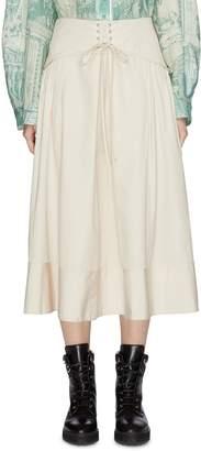 3.1 Phillip Lim Lace-up corset waist flared poplin skirt