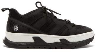 Burberry Monogram Low Top Mesh And Nubuck Trainers - Mens - Black