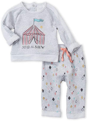 Petit Lem Newborn Girls) Two-Piece French Terry Tent Top & Diamond Pants Set