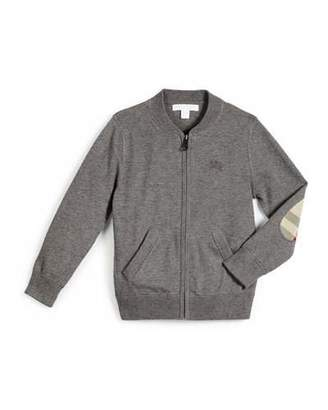 Burberry Jaxson Zip-Front Cotton Cardigan, Medium Gray, Size 4-14 $150 thestylecure.com