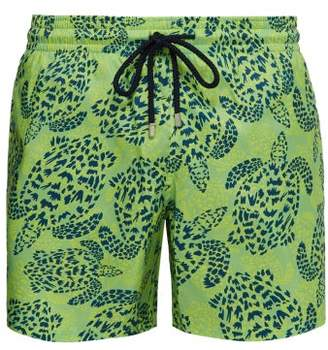 Vilebrequin Mahina Jungle Turtles Print Swim Shorts - Mens - Green Navy