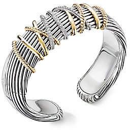 David Yurman Helena Diamond, 18K Yellow Gold & Sterling Silver Cuff Bracelet