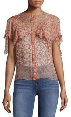 Zadig & Voltaire Tonia Floral-Print Raw Silk Top