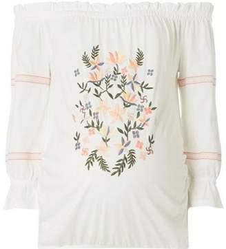 Dorothy Perkins Womens **Maternity Ivory Embroidered Gypsy Bardot Top