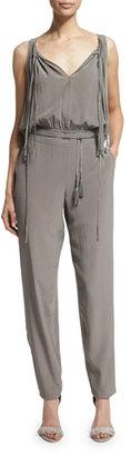 Elie Tahari Cheyenne Sleeveless Slim-Leg Silk Jumpsuit, Cocoa $398 thestylecure.com