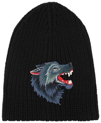 Gucci Wolf Patch Wool Knit Beanie