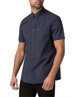 Ben Sherman Ss Gingham Shirt Blue Grey