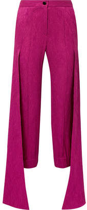 Hellessy Jagger Draped Cloqué Tapered Pants - Fuchsia
