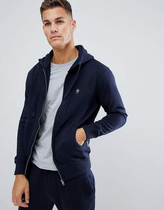 French Connection Essentials zip through hoodie with logo in navy
