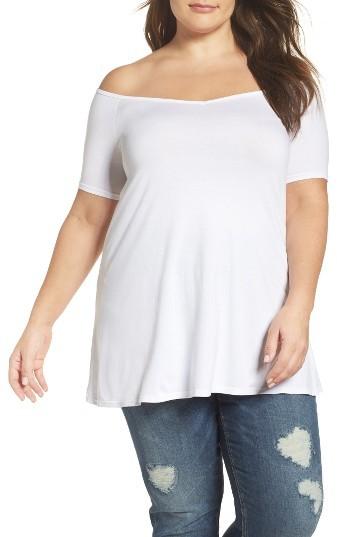 Three DotsPlus Size Women's Three Dots Off The Shoulder Swing Tee