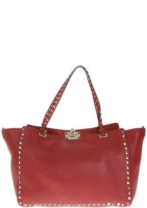 Valentino Rockstud Trapeze Red Leather Tote Bag