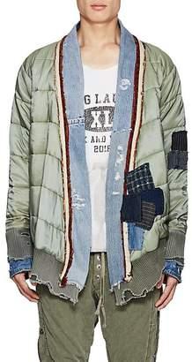 Greg Lauren Men's Patchwork Quilted Ripstop Kimono Jacket