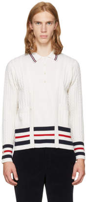 Thom Browne White Cricket Stripe Trompe LOeil V-Neck Cardigan Polo